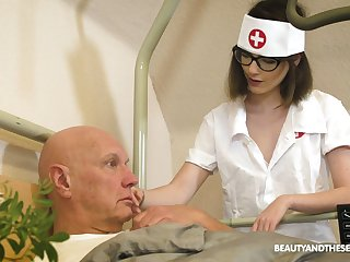 Roasting nerdy safe keeping Sara Bell bows and provides patriarch tramp with a BJ