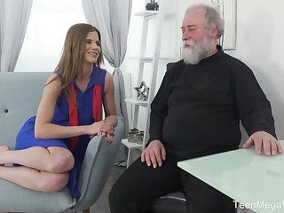 Lusty Czech young lady Sarah Kay lures bearded old man for steamy sex
