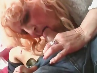 Blonde granny in stockings takes yearn