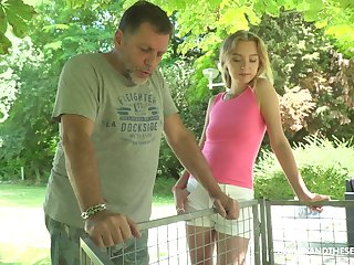 Slim light haired Czech nympho Lily Ray is poked from behind out of the closet