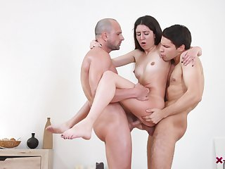 Teen doll enjoys the boyfriend and his buddy for a wild trio