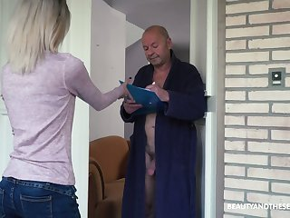Too naughty light haired Hungarian girl Missy Luv rides valorous cock of old man