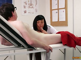 Hot brunette nurse strokes and sucks his thick prick